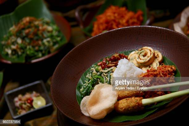 high angle view of food in plate - 韓国料理 ストックフォトと画像