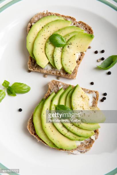 high angle view of food in plate - toasted bread stock pictures, royalty-free photos & images