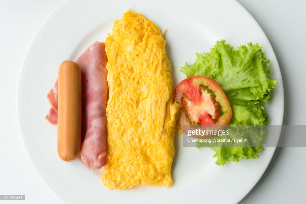 High Angle View Of Food In Plate : Stock Photo