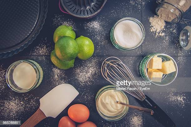 High Angle View Of Food Ingredients On Table