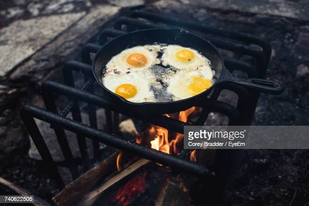 high angle view of food on campfire - ferro fundido - fotografias e filmes do acervo