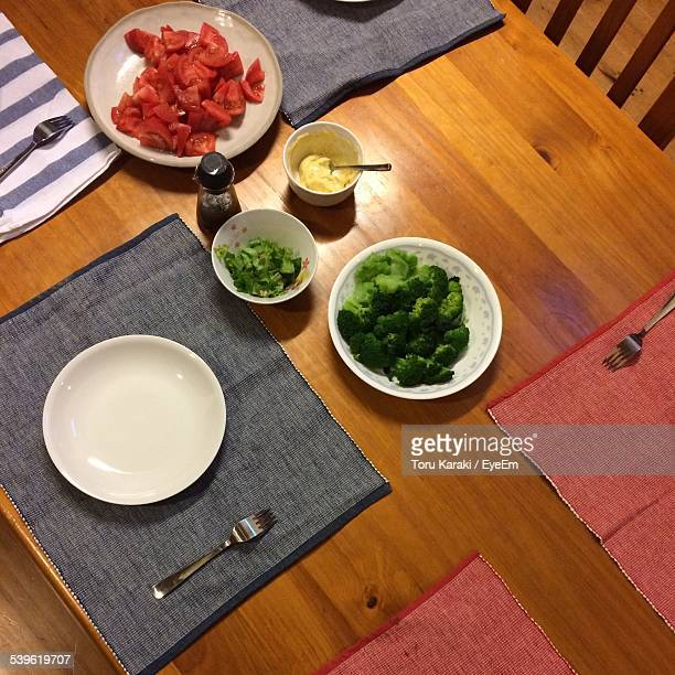 High Angle View Of Food On Dining Table