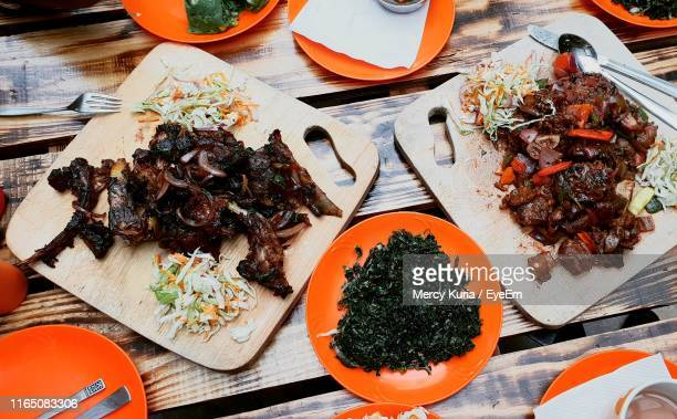 high angle view of food on table - kenya stock pictures, royalty-free photos & images