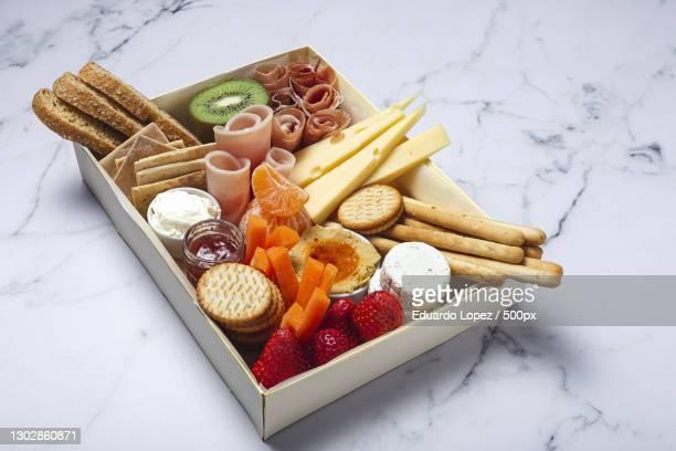 high angle view of food on table - voorgerecht stockfoto's en -beelden