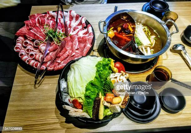 high angle view of food on table - casey nolan stock pictures, royalty-free photos & images