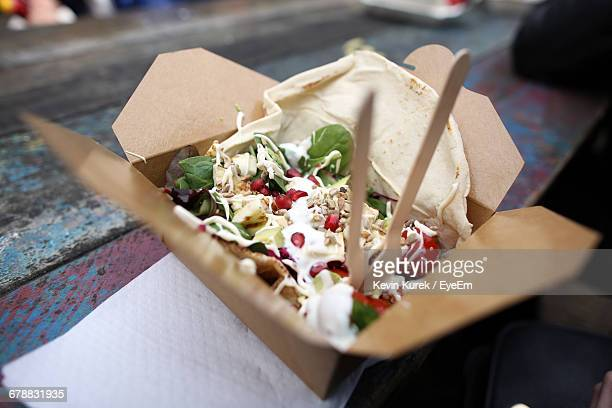 high angle view of food on table - street food stock pictures, royalty-free photos & images