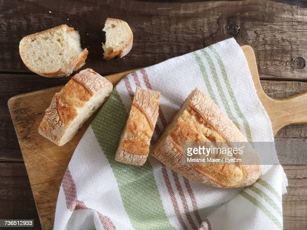 high angle view of food on table - baguette stock pictures, royalty-free photos & images
