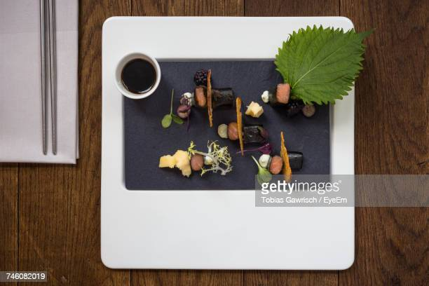 high angle view of food on table - soy sauce stock photos and pictures