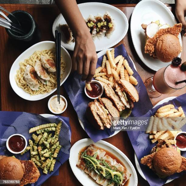 high angle view of food on table - large group of objects stock pictures, royalty-free photos & images