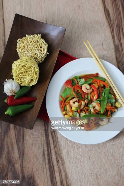 high angle view of food on table - weybridge stock photos and pictures