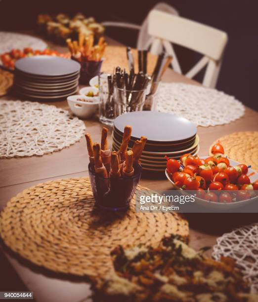 High Angle View Of Food On Table