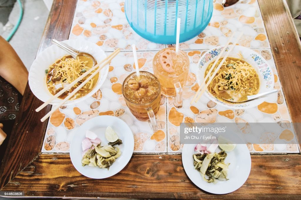 High Angle View Of Food On Table : Stock Photo