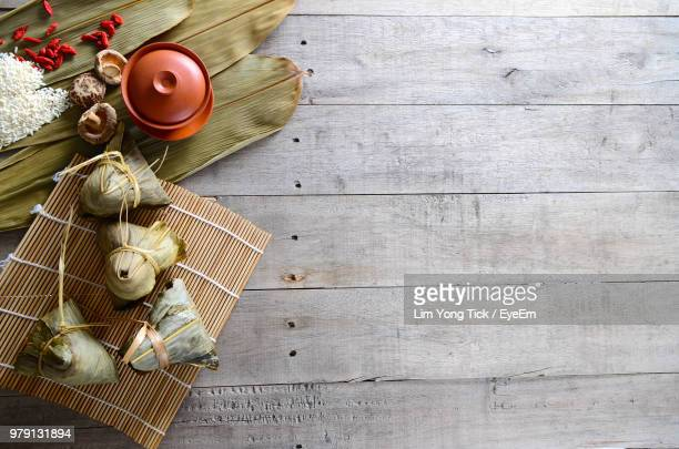 High Angle View Of Food On Wooden Table
