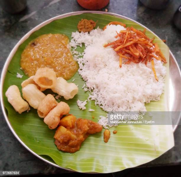 high angle view of food served in plate - tamil nadu stock pictures, royalty-free photos & images