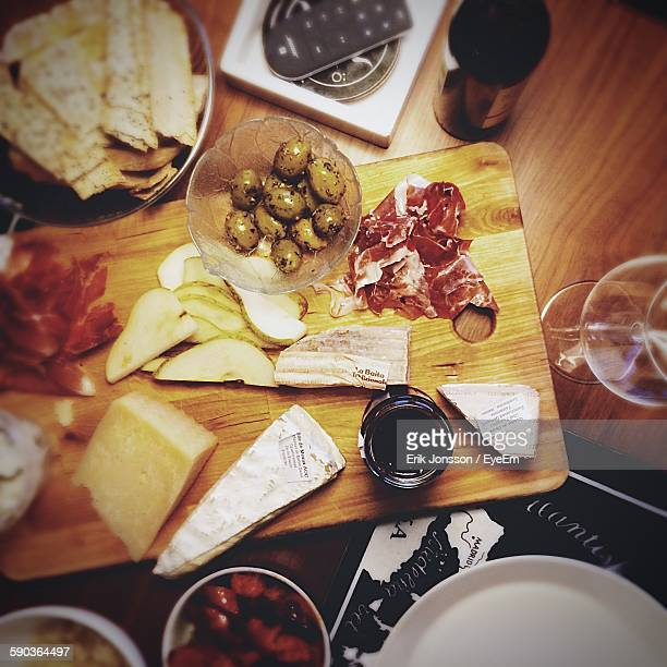 High Angle View Of Foods On Cutting Board