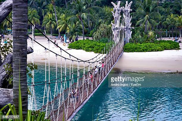 High Angle View Of Footbridge Over Calm Sea