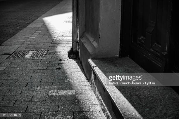 high angle view of footpath amidst buildings - leon boden stock-fotos und bilder