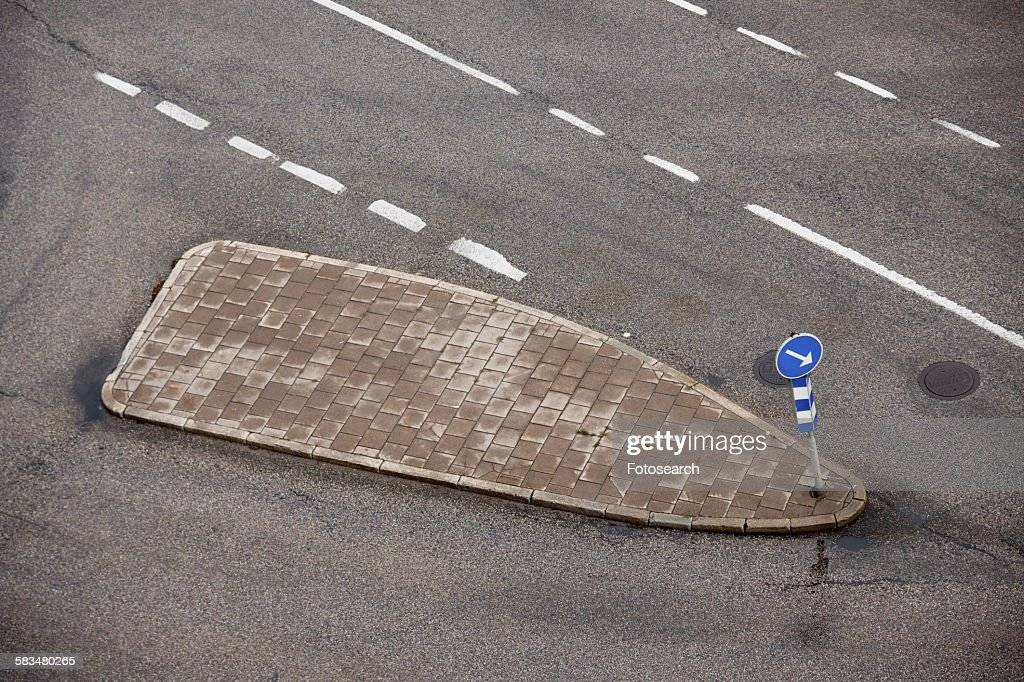 High angle view of footpath on the road : Stock Photo