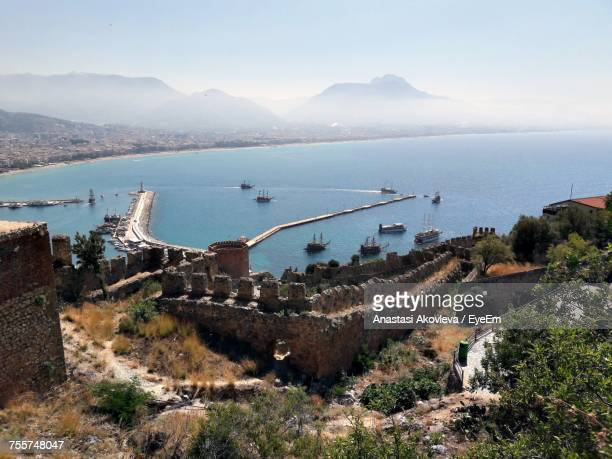 high angle view of fortress by sea seen from mountain - anastasi foto e immagini stock