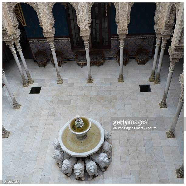 High Angle View Of Fountain In Historic Building