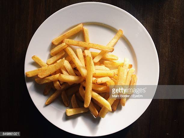 High Angle View Of French Fries Served In Plate