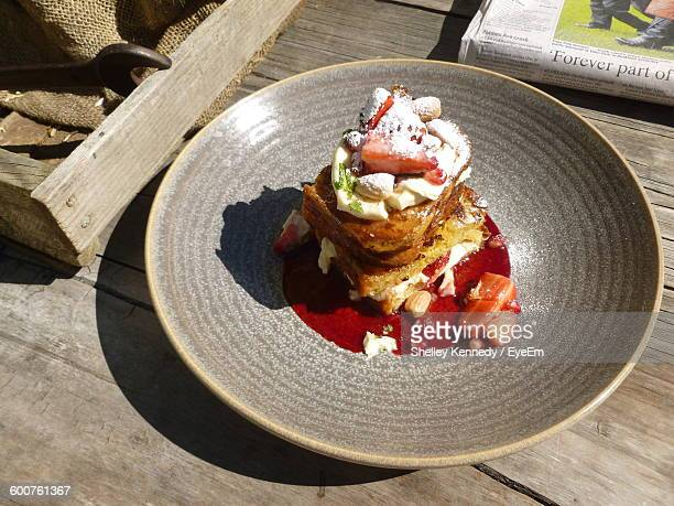 High Angle View Of French Toast In Plate On Table