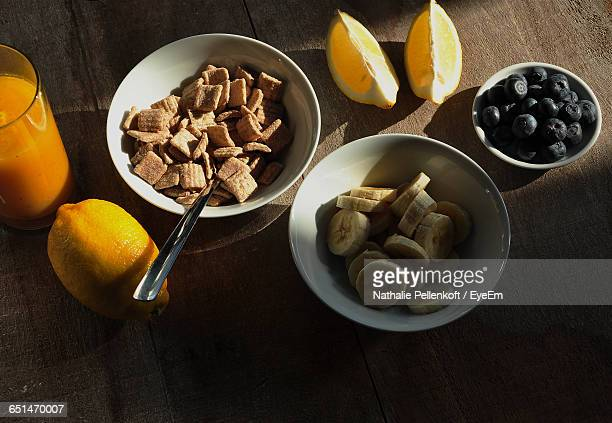 high angle view of fresh breakfast served on table - nathalie pellenkoft stock pictures, royalty-free photos & images