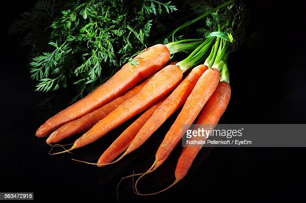 high angle view of fresh carrots in darkroom - nathalie pellenkoft stock pictures, royalty-free photos & images