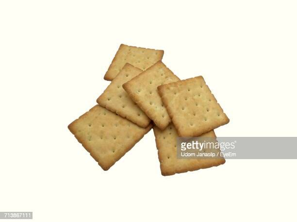 High Angle View Of Fresh Crackers Against White Background
