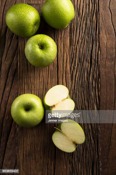 High Angle View Of Fresh Green Apples.