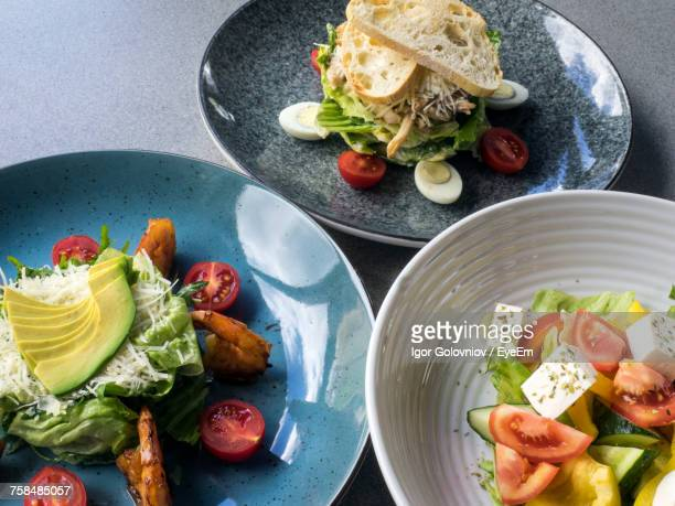 High Angle View Of Fresh Meal Served On Table