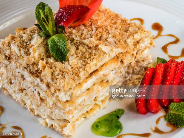 High Angle View Of Fresh Mille Feuille Served In Plate