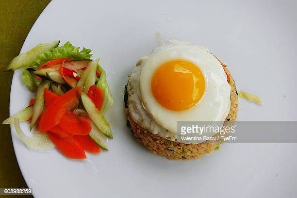 High Angle View Of Fresh Nasi Goreng Served In Plate