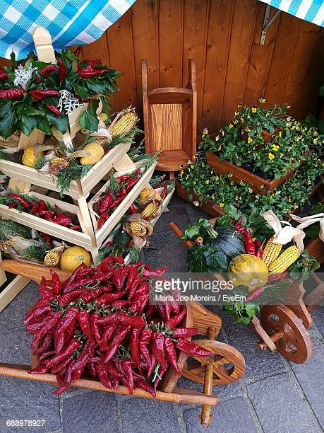 High Angle View Of Fresh Organic Vegetables Decorated In Yard