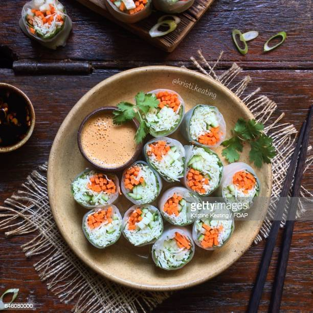 High angle view of fresh spring rolls