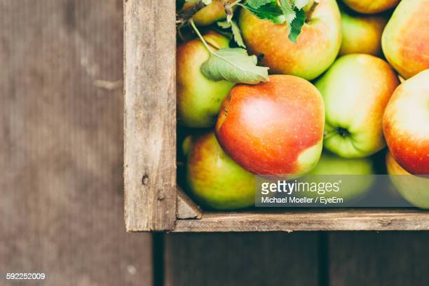 High Angle View Of Freshly Harvested Apples In Crate