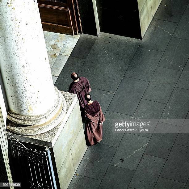 High Angle View Of Friars Walking At Catedral Metropolitana De Campinas