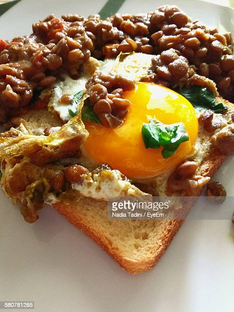High Angle View Of Fried Egg And Beans On Bread