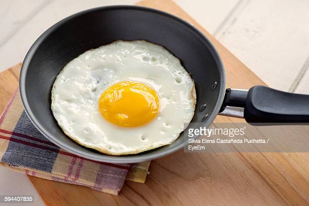 High Angle View Of Fried Egg In Frying Pan