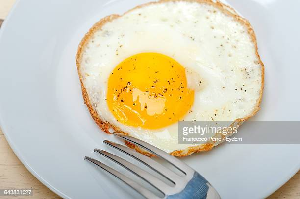 High Angle View Of Fried Egg In Plate