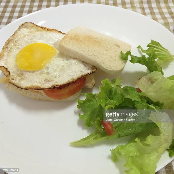 High Angle View Of Fried Egg With Bread And Lettuce In Plate