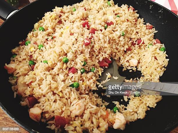 High Angle View Of Fried Rice In Pan