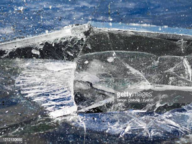 high angle view of frozen sea breaking up - colbing stock pictures, royalty-free photos & images