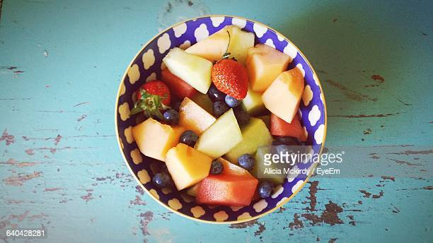 High Angle View Of Fruit Salad In Bowl On Table