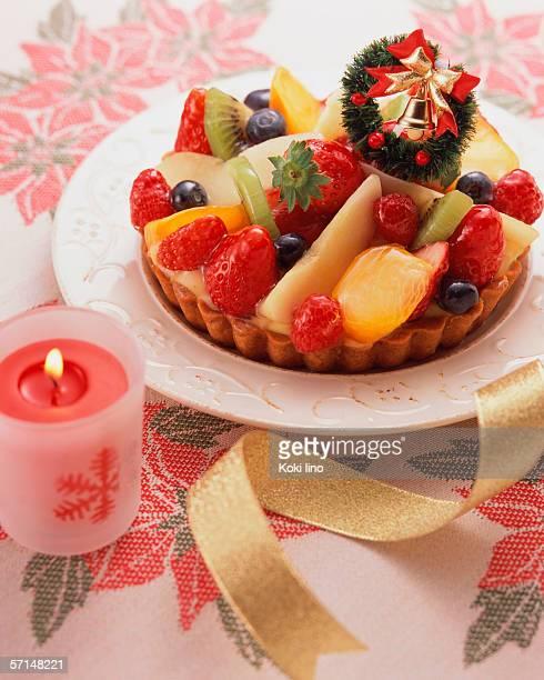 High angle view of fruit tart