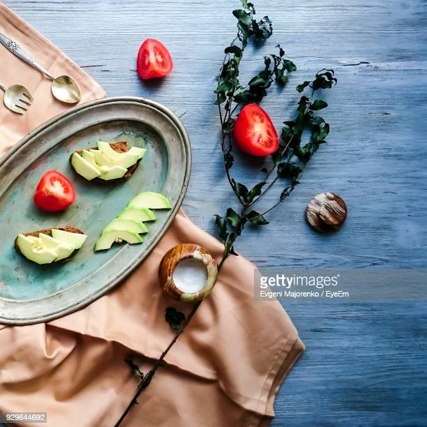 high angle view of fruits and vegetable on table - オレンブルク州 ストックフォトと画像