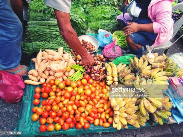 high angle view of fruits and vegetables for sale at the market - eyeem collection stock pictures, royalty-free photos & images