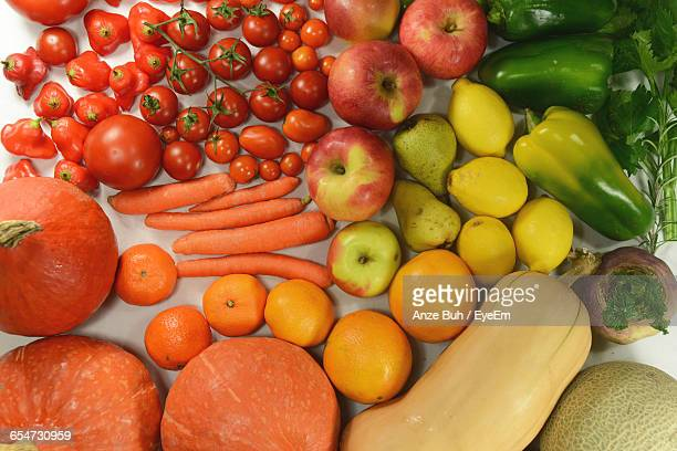 High Angle View Of Fruits And Vegetables For Sale