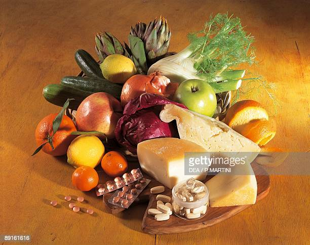 High angle view of fruits and vegetables in a plate