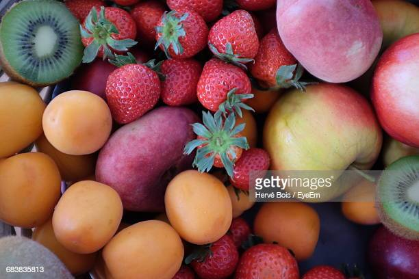 High Angle View Of Fruits At Market For Sale